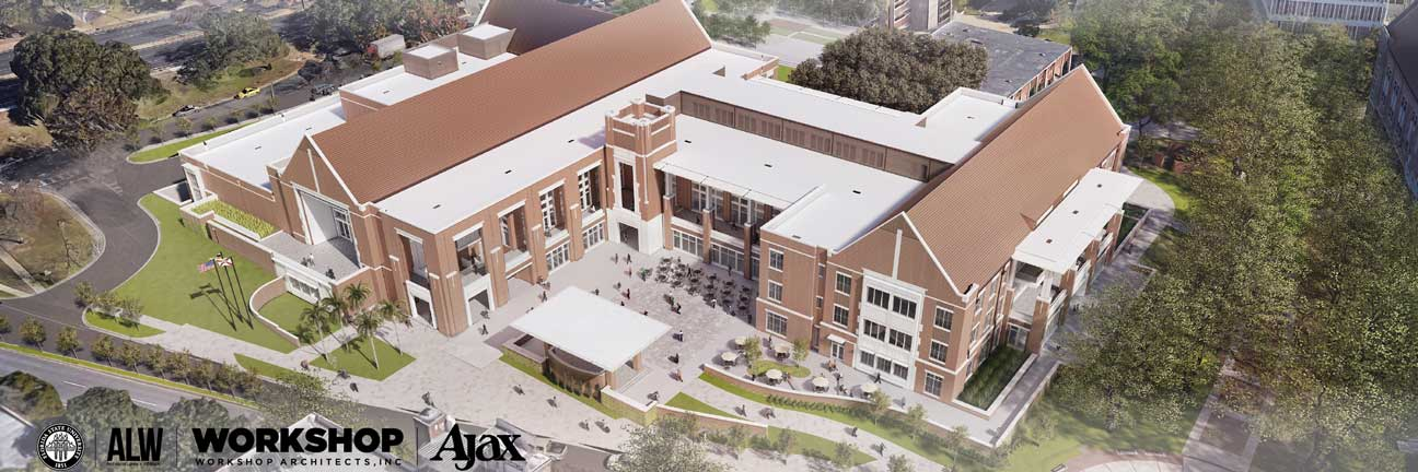 Aerial photo of FSU new Student Union | Florida State University | ALW | Workshop, Workshop Architects, INC | AJAX